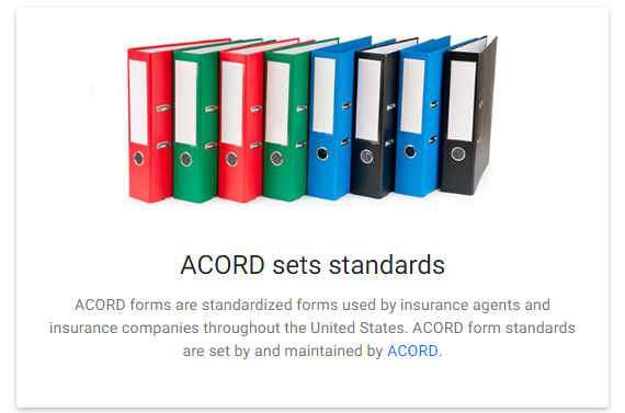 ACORD sets standards for ACORD forms