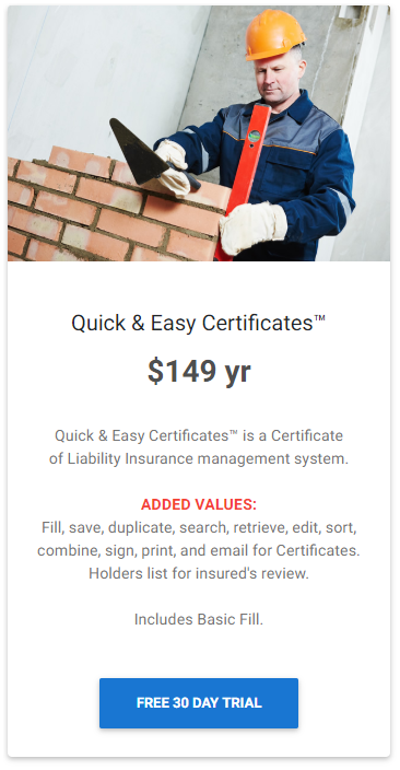 Quick and Easy Certificates of Insurance